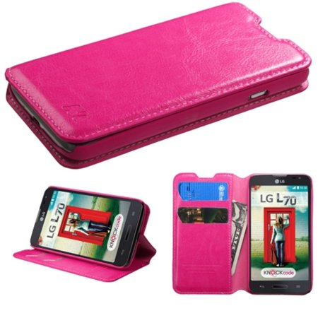 Insten Premium Hot Pink Hybrid TUFF Phone Cover Case For LG Optimus L70 Exceed II Dual D325 - image 1 of 5