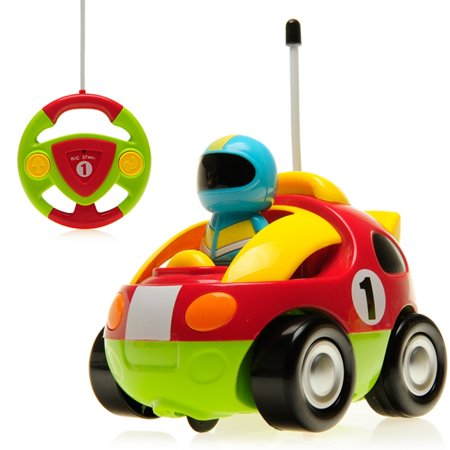 cartoon race car radio control r c toy for toddlers red. Black Bedroom Furniture Sets. Home Design Ideas