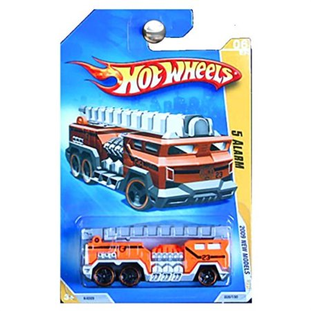 Hot Wheels 2009 New Models 5 Alarm Fire Truck Engine in Orange with Ladder