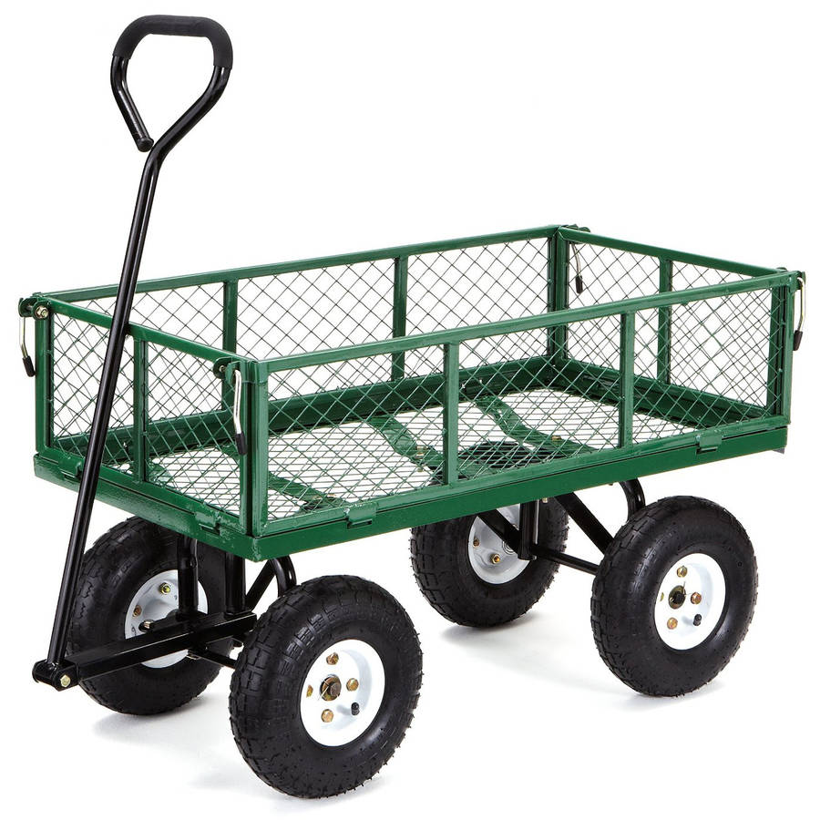 Gorilla Carts GOR400-COM Steel Garden Cart with Removable Sides, 400 lb Capacity, Green