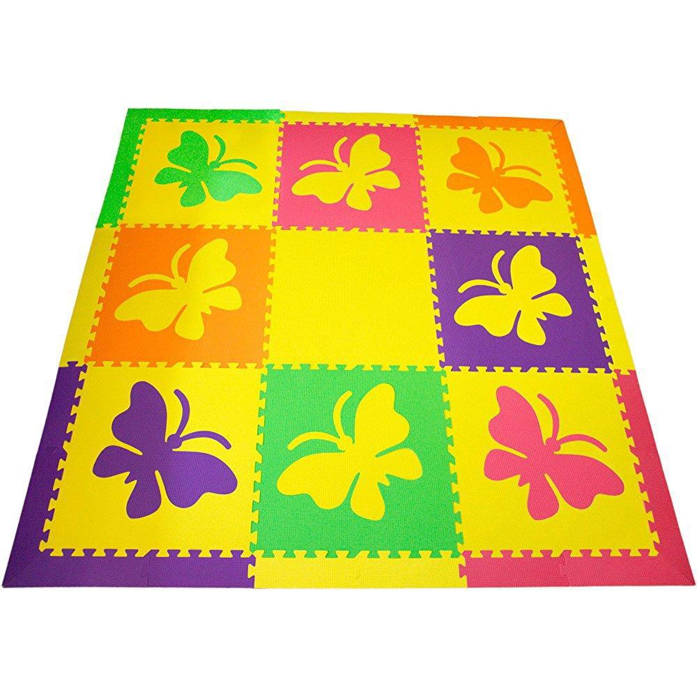 softtiles butterfly interlocking foam kids play mat w/slo...