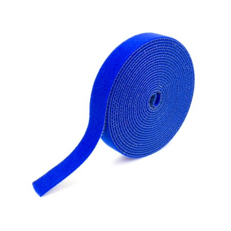 Secure Cable Ties 1/2 Inch Continuous Blue Hook and Loop Wrap - 25 Yards