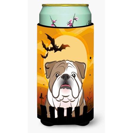 Halloween English Bulldog  Tall Boy Beverage Insulator Hugger BB1777TBC - Open English Commercial Halloween