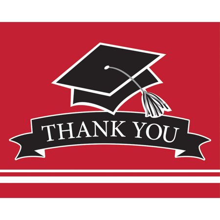 "- Club Pack of 75 Red and Black ""Thank You"" Decorative School Spirit Notes 9.25"""