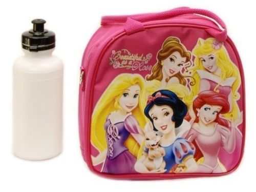 Disney Princess Lunch Box Bag with Shoulder Strap and Water Bottle by