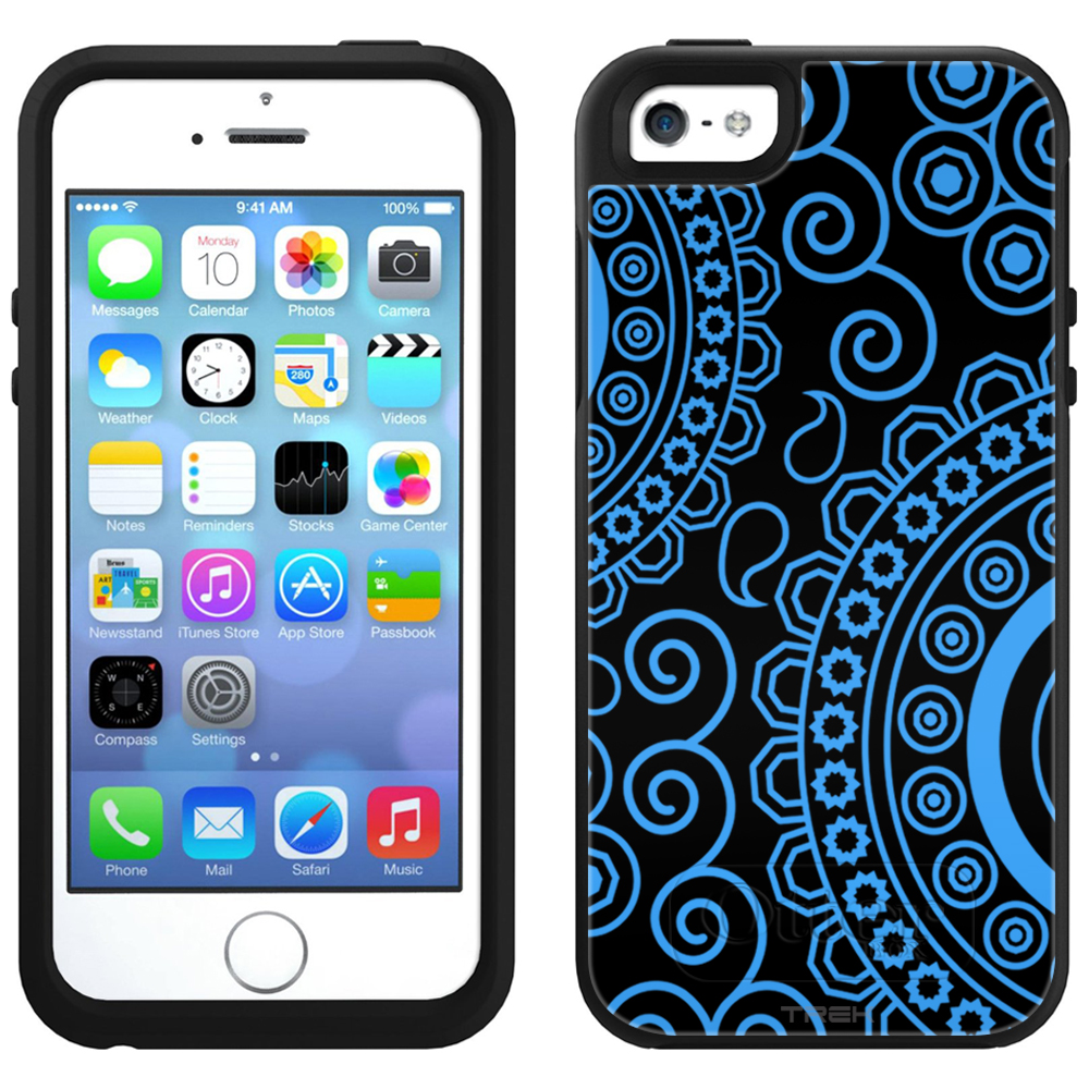 SKIN DECAL FOR OtterBox Symmetry Apple iPhone SE Case - Paisley Circles Blue on Black DECAL, NOT A CASE