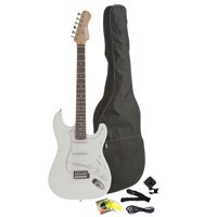 Fever Full Size Electric Guitar with Gig Bag, Clip on Tuner, Cable, Strap and Strings Color White