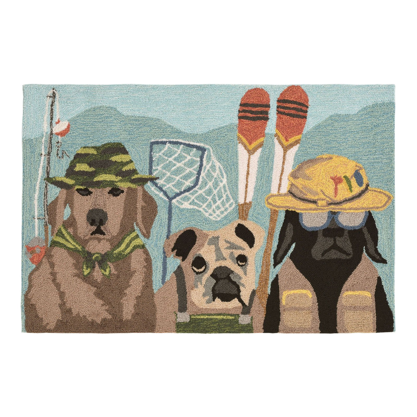 """Frontporch Fishing Patrol Rug-Color:Multi,Size:48""""Lx30""""Wx0.375""""H"""