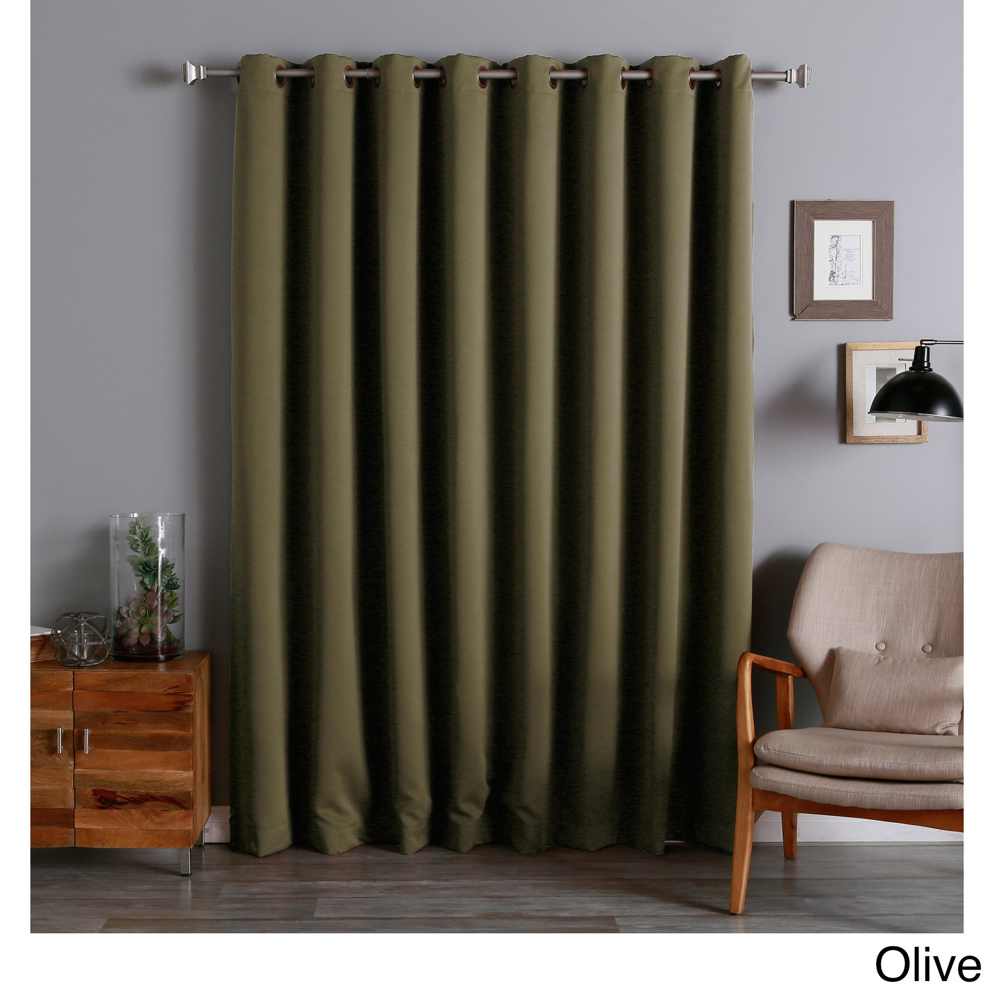 aurora home extra wide thermal 100 x 84 inch blackout curtain panel. Black Bedroom Furniture Sets. Home Design Ideas