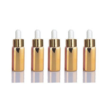 10 Gold Sets Assorted 5ml UV Coated Glass Dropper Bottles Grand Parfums Refillable Medicine Dropper Bottles with Gold Caps and White Bulb Glass Pipette for Essential Oil, Serums, Perfumes,](Gold Bottles)