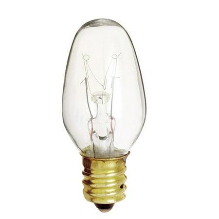 - Satco S4725 7W 120V C7 Clear E12 Candelabra Base Incandescent bulb x 4 pack