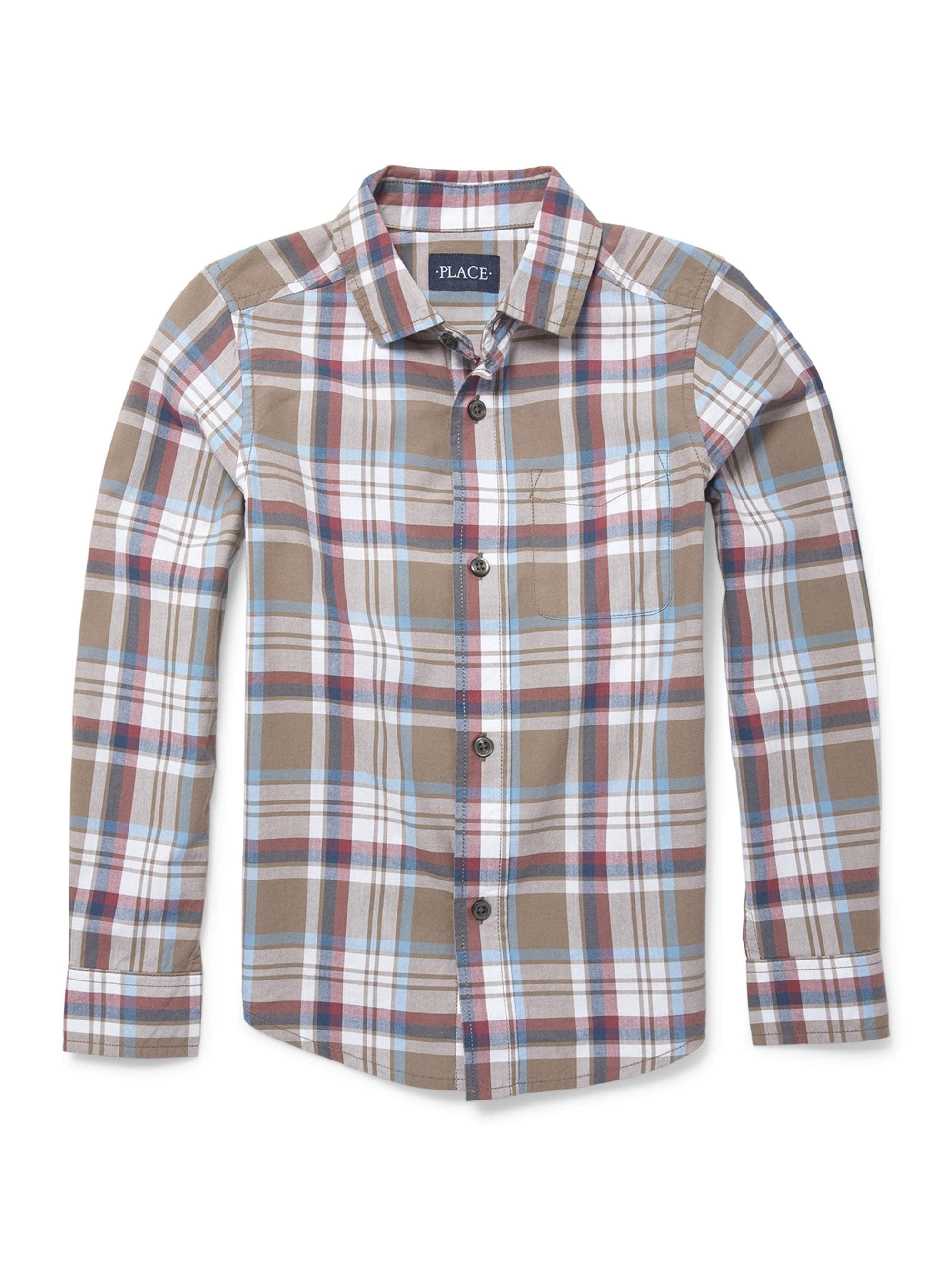 The Children's Place Long Sleeve Button Up Poplin Brown Plaid Shirt (Little Boys & Big Boys)
