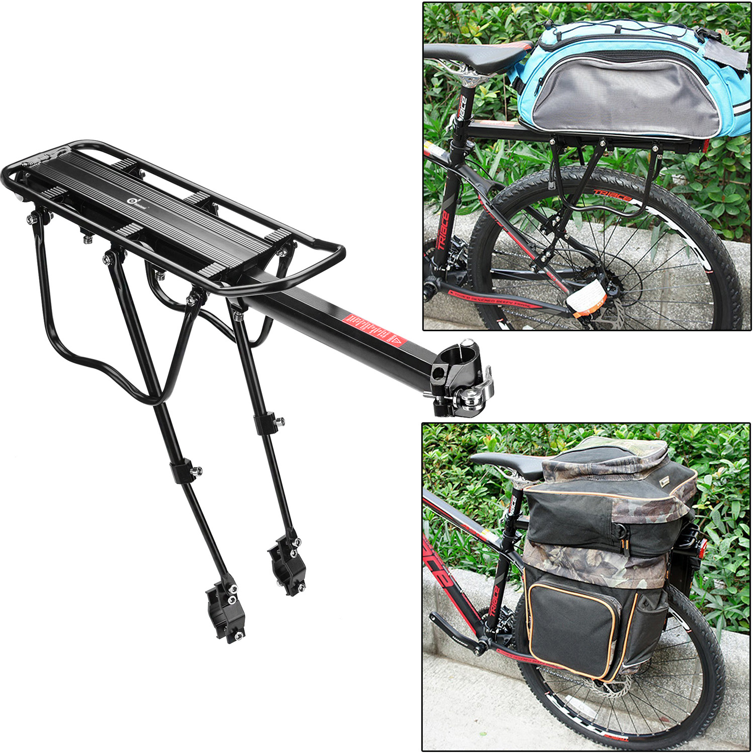 110 lbs Capacity Adjustable Rear Bike Rack Carrier Luggage Cargo Bicycle Accessories