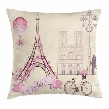 Kiss Throw Pillow Cushion Cover, Floral Paris Symbols Landmarks Eiffel Tower Hot Air Balloon Bicycle Romantic Couple, Decorative Square Accent Pillow Case, 16 X 16 Inches, Ivory Pink, by Ambesonne for $<!---->