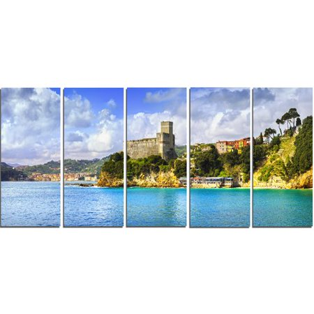 Design Art Lerici Village Panorama 5 Piece Wall Art on Wrapped Canvas Set ()