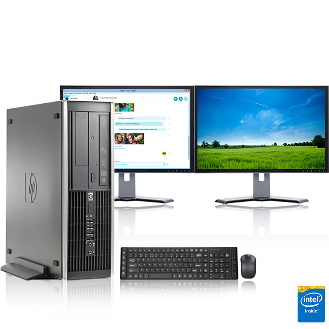 "HP DC Desktop Computer 3.0 GHz AMD Athlon Tower PC, 8GB, 500 GB HDD, Windows 7 x64, 19"" Dual Monitor , USB Mouse & Keyboard (Refurbished)"