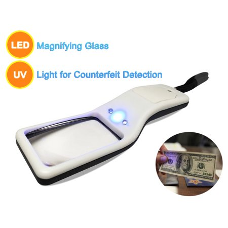 Magnifier With Light - MagniPros 5x Ultra Bright Portable Magnifier- Multifunctional Portable LED Magnifying Glass & UV Light Detection
