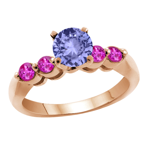 1.22 Ct Round Blue Tanzanite Pink Sapphire 18K Rose Gold Engagement Ring by