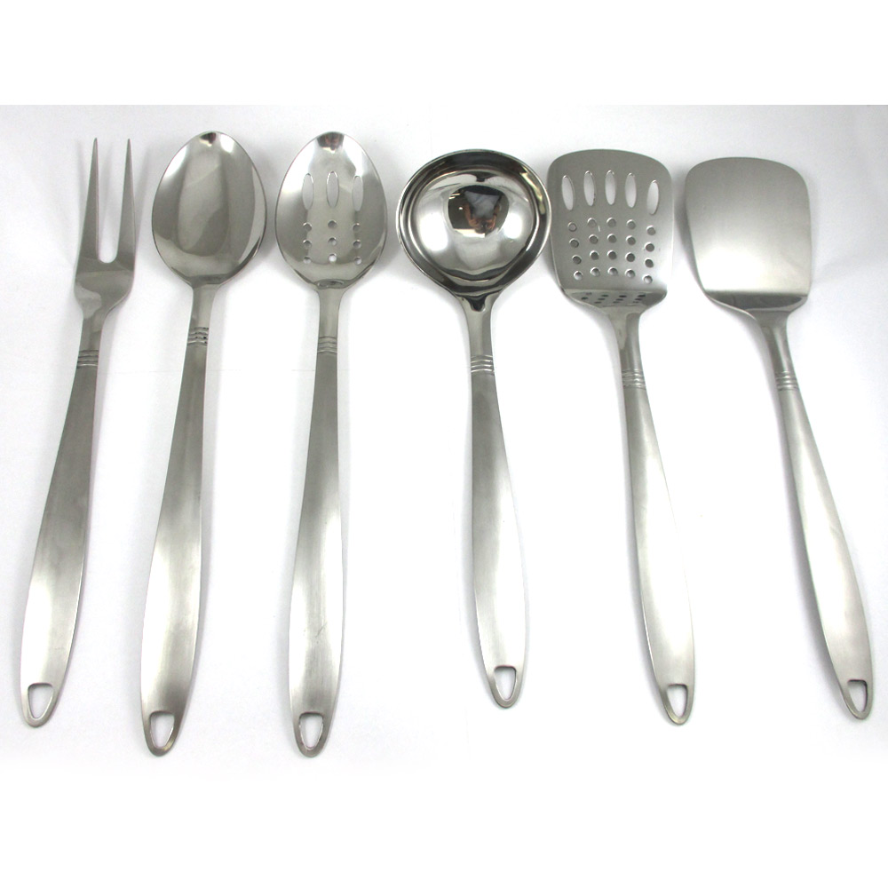 6 Stainless Steel Kitchen Cooking Utensil Set Serving Tools Server Spatula Spoon by Chef Craft