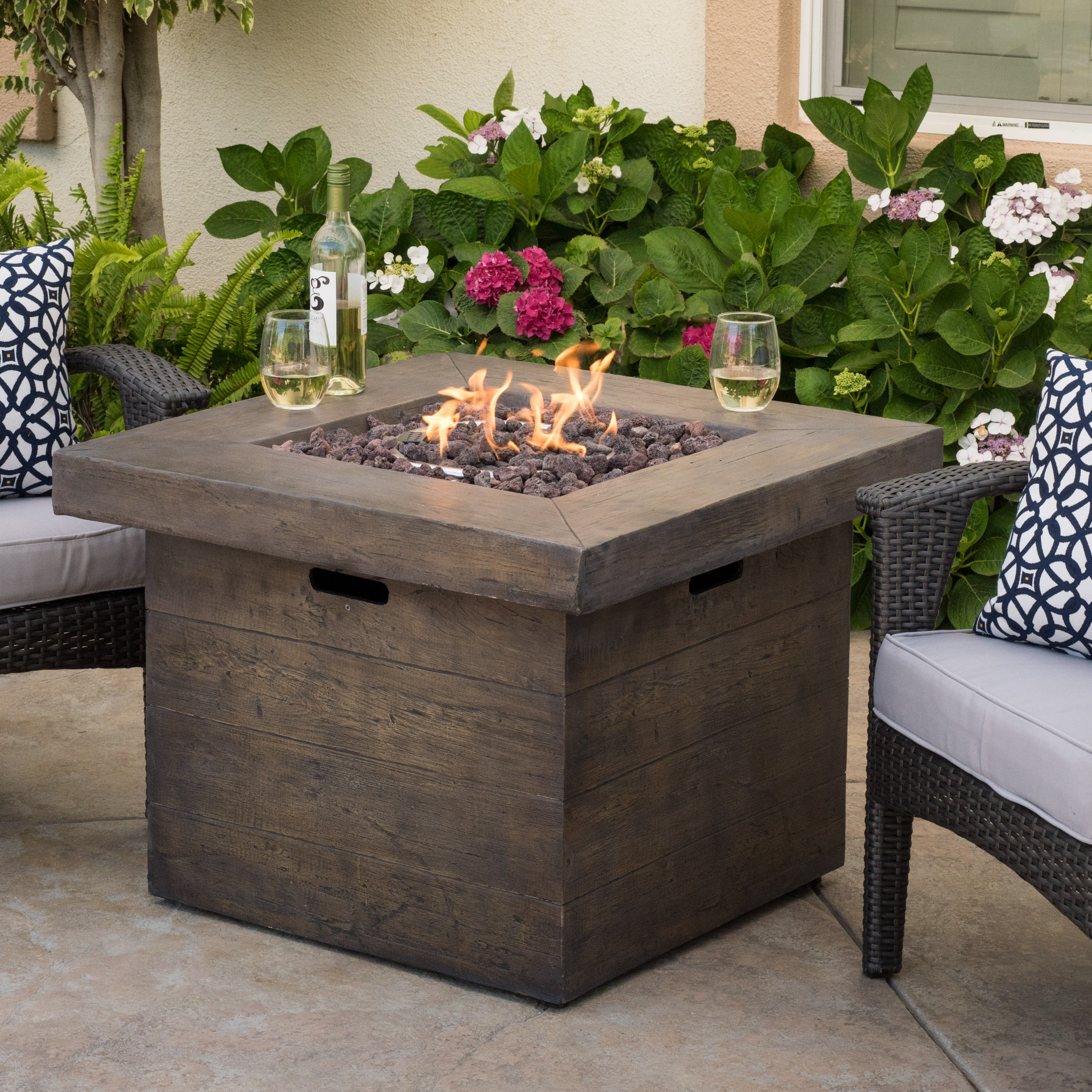 Ford Magnesium Oxide Square Gas Fire Pit, Brown