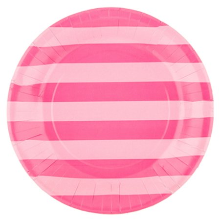 Hot Pink Striped Plates Large Table Decoration Party Supplies Special Events 20 - Hot Pink Party Decorations