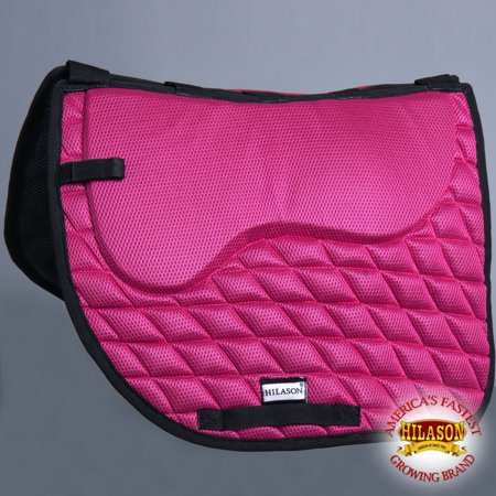 TA306F HILASON ENGLISH DRESSAGE SADDLE PAD WITH MEMORY FOAM AND ANTI-SLIP - PINK