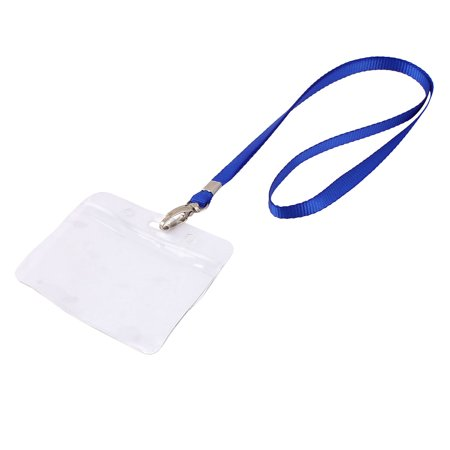 Unique Bargains Plastic ID Card Holder Lanyard Name School Office Bank Students Stationery Blue w Neck Strap](Plastic Lanyard)