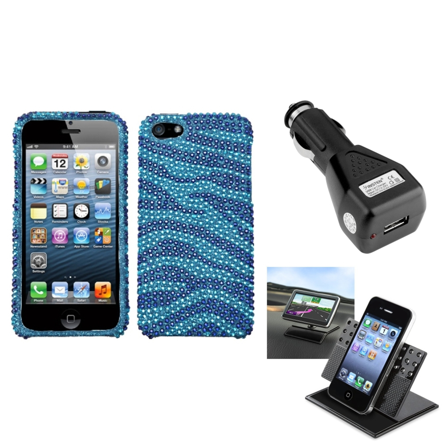 Insten Car Charger Holder Baby Blue Zebra Skin Bling Diamante Diamond Case for iPhone 5 / 5s