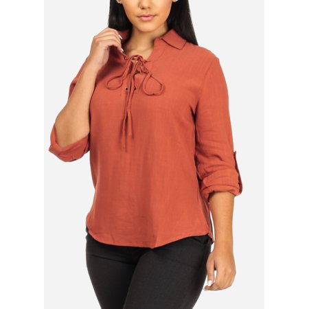 924df6b50 ModaXpressOnline - Womens Juniors Stylish Office Careerwear Wear to Work  Roll Up Long Sleeve Lace Up V Neckline Solid Rust Blouse 41041R -  Walmart.com