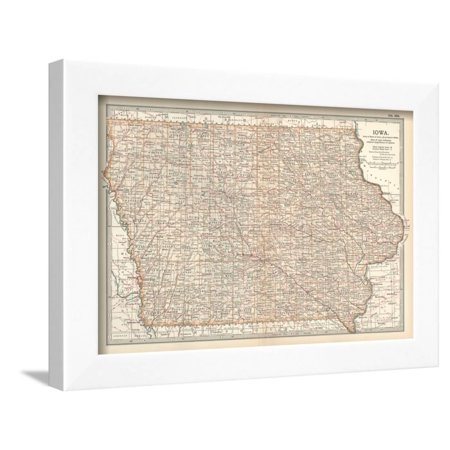 Plate 101. Map of Iowa. United States Framed Print Wall Art By Encyclopaedia - Plate Wall Art