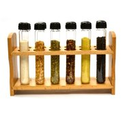 "Hand Made Test Tube Spice Rack, Wooden Rack with 12 Borosilicate Glass Test Tubes (6"" long, 1"" dia.) with Caps and Funnel"