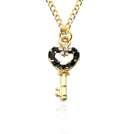 Women Heart Key Shape Hollow Cute Alloy Pendant Necklace with Chain Christmas