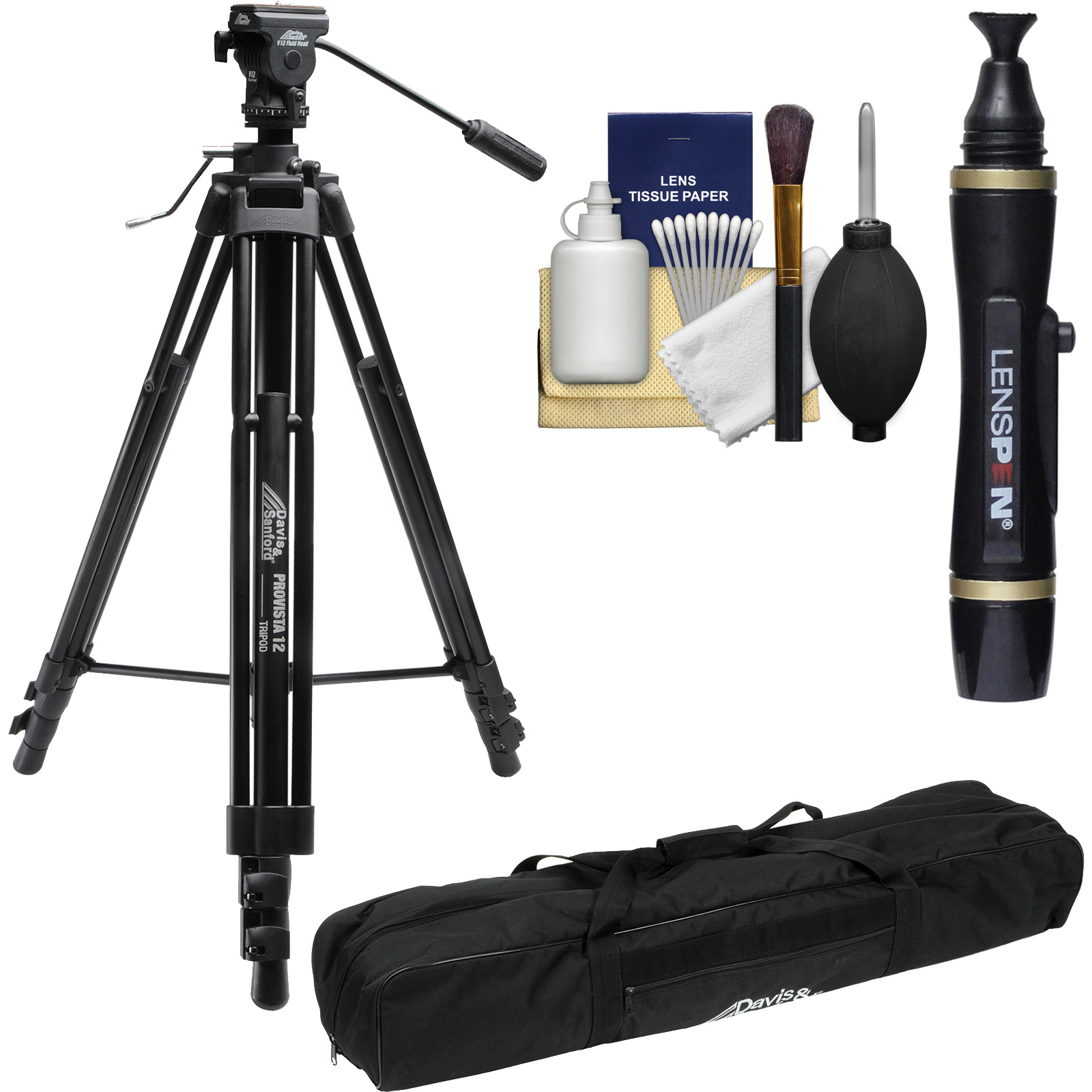 Davis & Sanford ProVista 12 Professional Video Tripod with V12 Head & Case with Lenspen   Kit