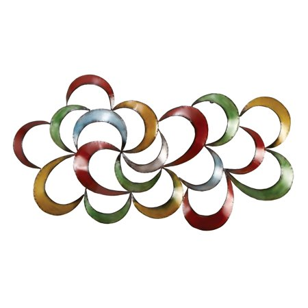 Decmode Contemporary 35 x 17 Inch Multicolored Abstract Metal Wall Decor