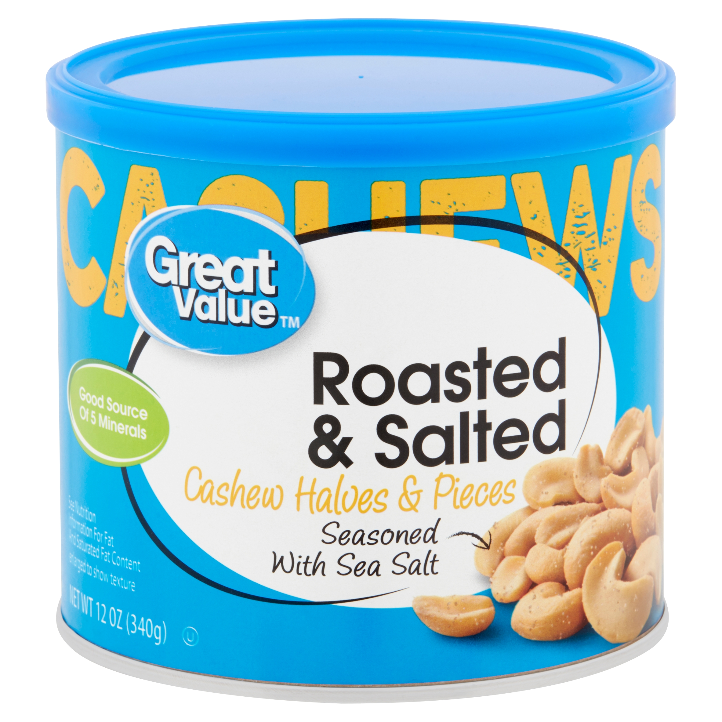 Great Value Roasted & Salted with Sea Salt Cashew Halves & Pieces, 12 Oz.