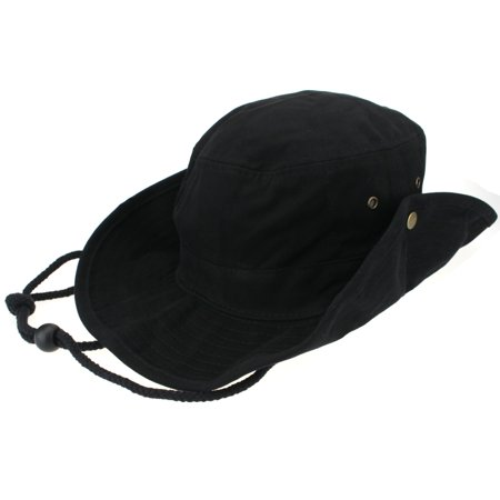 Mens Fisherman Brushed Cotton Twill Bucket Hat Black Small (7-1/8)