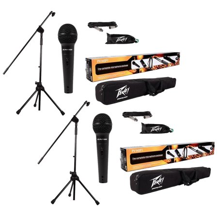 Gooseneck Microphone Xlr Base ((2) Peavey Pv-Msp1 Complete Microphone, Stand, Bag & Xlr Cable Stage Package New )