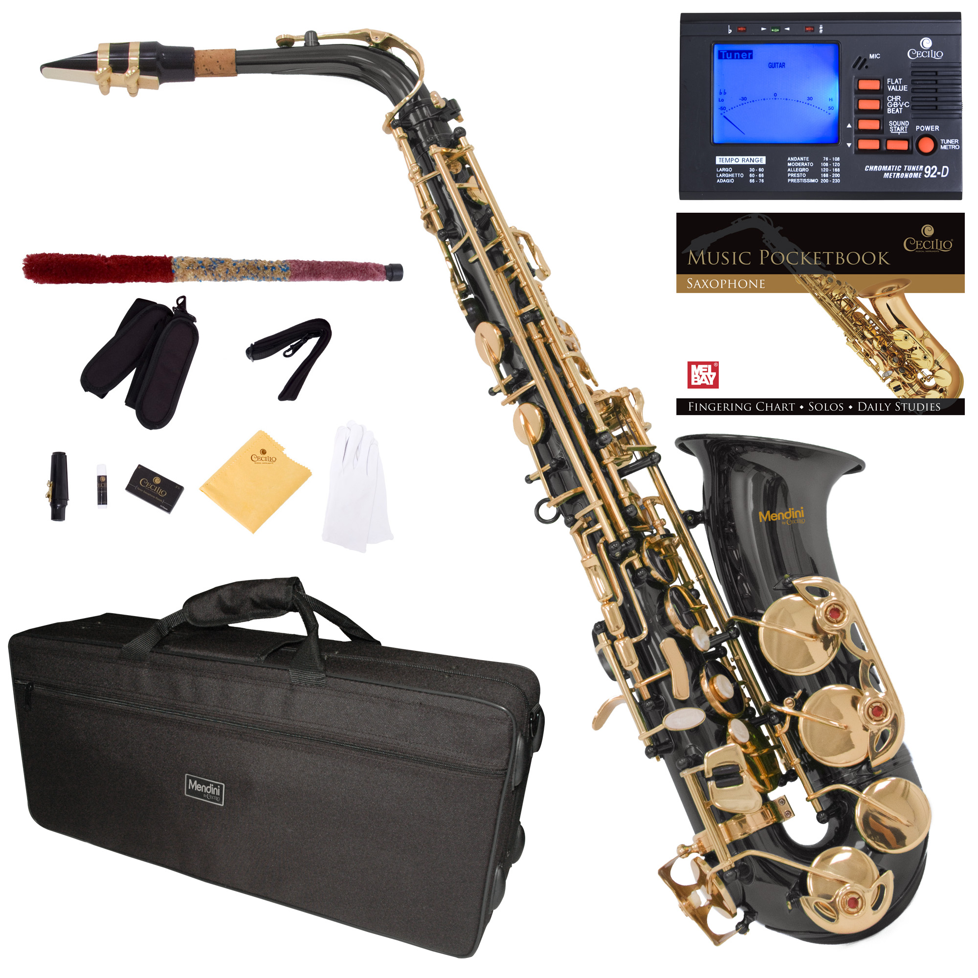 Mendini Black Nickel Plated Gold Keys Eb Alto Saxophone with Tuner, 10 Reeds, Pocketbook, Mouthpiece and Case, MAS-BNG