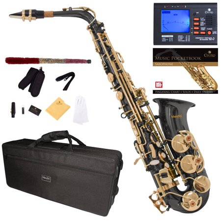 Mendini Black Nickel Plated Gold Keys Eb Alto Saxophone with Tuner, 10 Reeds, Pocketbook, Mouthpiece and Case, (Nickel Tuners)