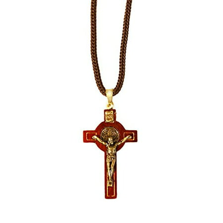 Saint Benedict Wooden Crucifix Pendant Cord Necklace, 1.6 Inch Cross, 13.5 - Wooden Cross Necklaces