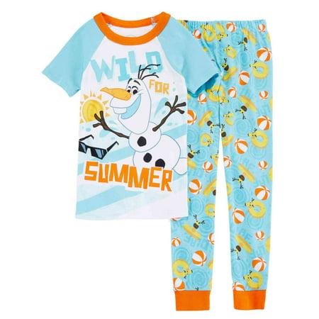 Disney Collection Boys 2-Piece Olaf Wild For Summer Sleepwear Pajama Set 4 - Summer Olaf