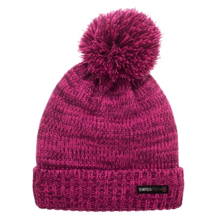 Swiss Tech Youth Marled Pink and Purple Cuff Cap with Thinsulate M-80 Fleece Lining Fleece Cuff Cap