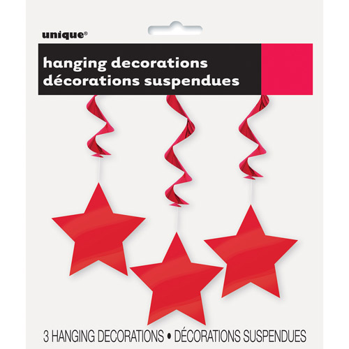 Star Hanging Decorations, 26 in, Red, 3ct