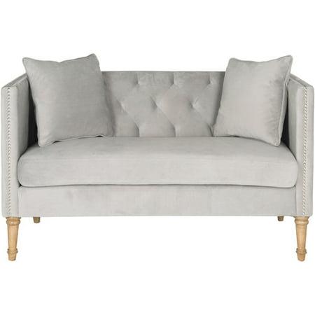 Safavieh Sarah Tufted Settee with Pillows, Grey ()