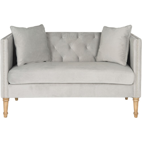 Safavieh Sarah Tufted Settee with Pillows, Grey