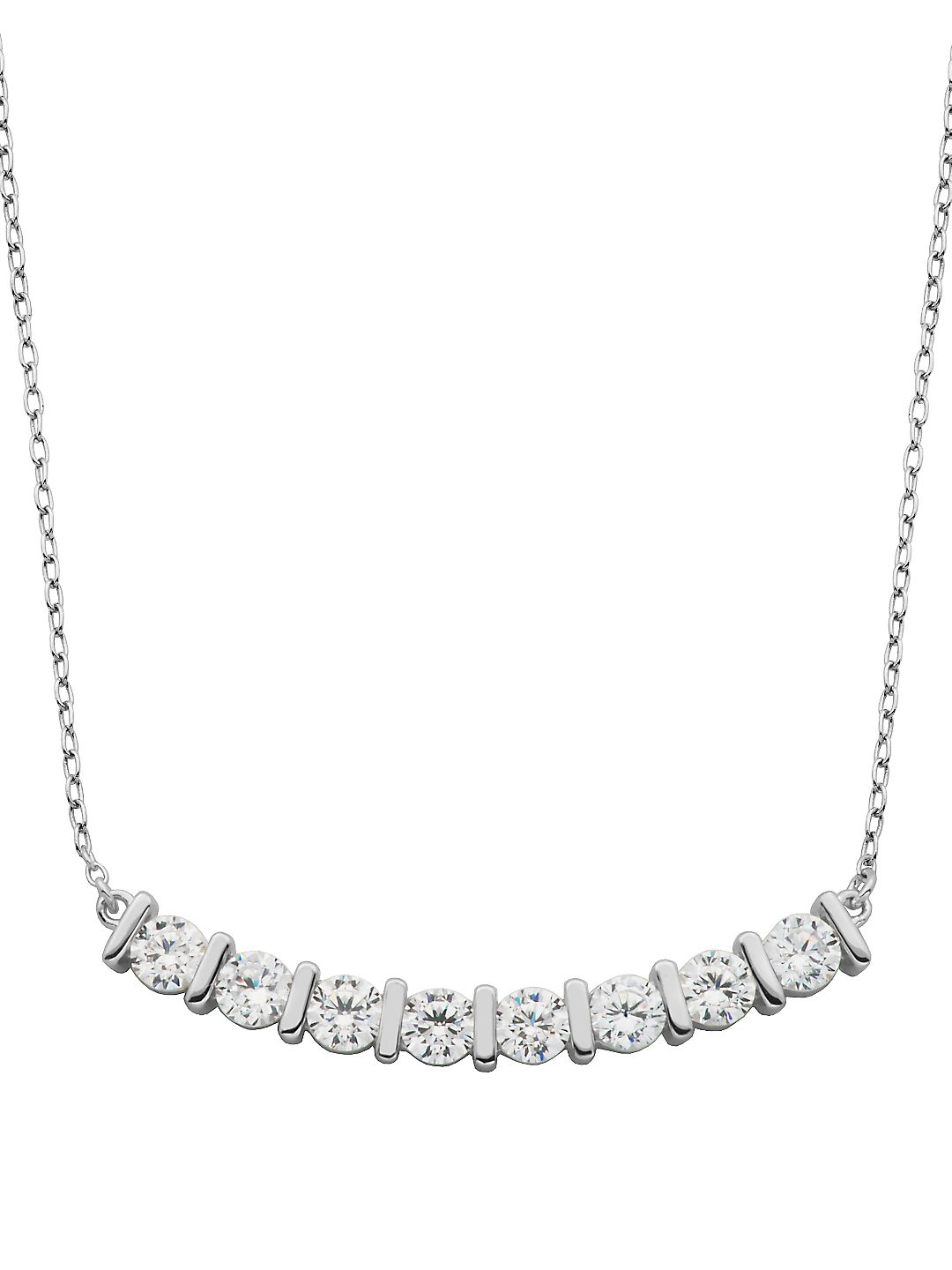 Cubic Zirconia and Sterling Silver Bar Necklace