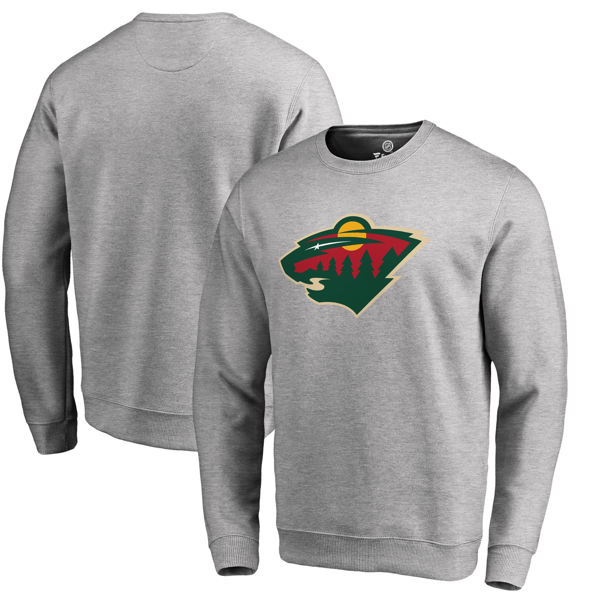 Minnesota Wild Fanatics Branded Primary Logo Pullover Sweatshirt - Ash