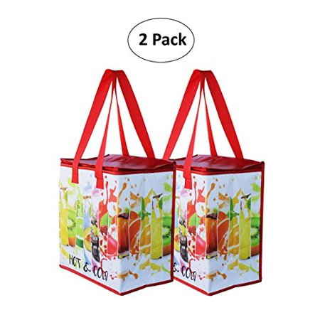 Earthwise Insulated Reusable Grocery Bag Shopping Tote with Zipper Top Lid Fruit Splash Print Thermal for Frozen or Hot Food Carrier Collapsible (Pack of 2) - Fruit Bag
