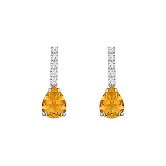 FineJewelryVault UBER711D86CTW-101 Diamond and Citrine Earrings : 14K White Gold - 1. 25 CT TGW