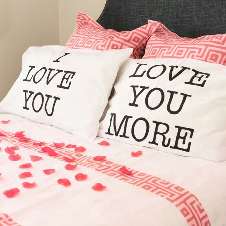 I Love You & Love You More Cotton Polyester Standard Size Pillowcase Pair by Super Z Outlet
